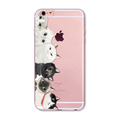 Cute Cat Litter Pattern Transparent Soft Silicone Case Cover For Apple iPhone