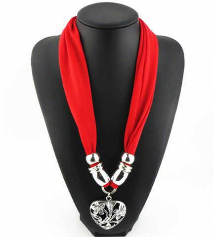 New Arrival Heart Pendant Scarf Necklace Scarves Jewelry