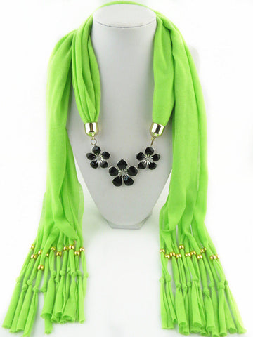 New Fashion Polyester Tassel Alloy Drip Flower Pendant Women Scarves