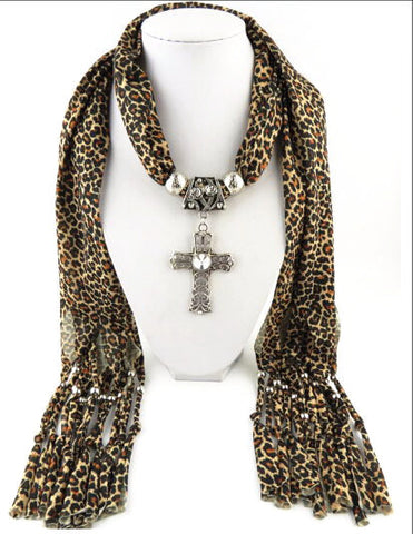 New Leopard Design Cross Pendant Long Tassel Scarves Necklace for Women