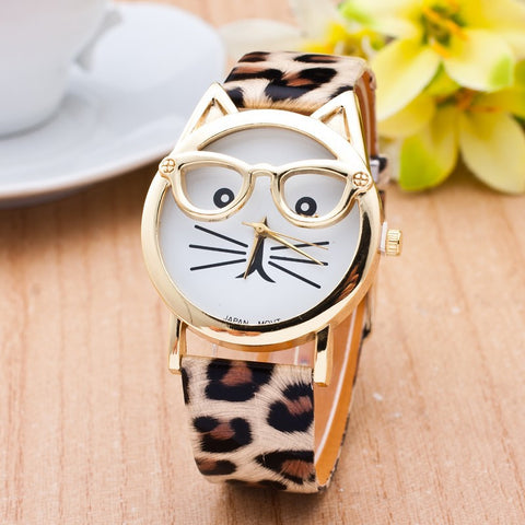 New Cat Watch With Glasses Fashion Women Quartz Watches