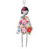 New Trendy Doll Dress Red Flower Figure Pendant Necklace Fashion Jewelry Accessories