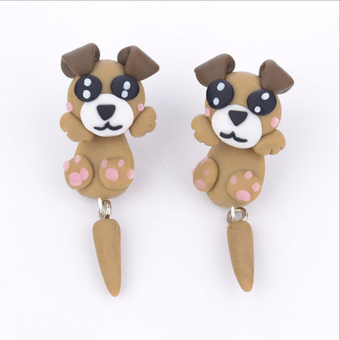 New Handmade Khaki Dogs Stud Earrings For Dog Lovers