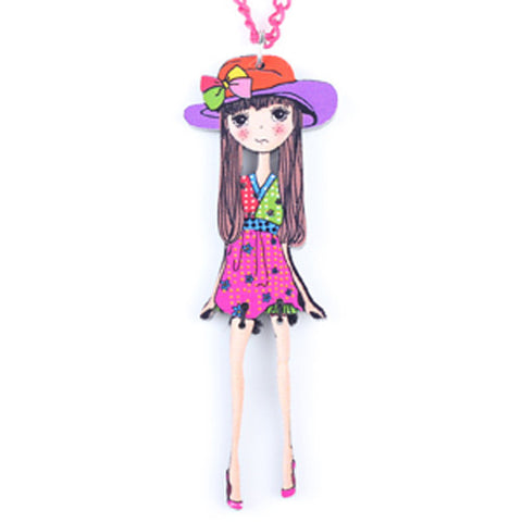 Colorful Thin Girl Pendant Necklace Cute Figure Acrylic Woman Jewelry