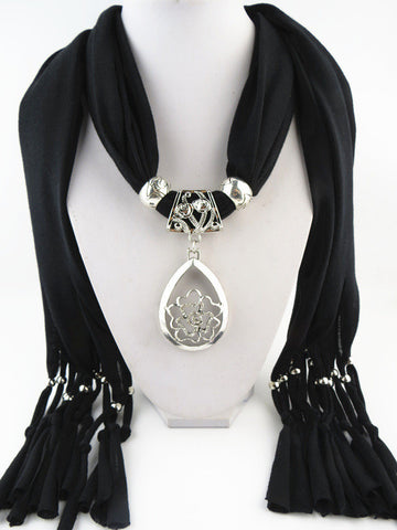 New Flower Pendant Solid Polyester Long Tassel Women Scarves