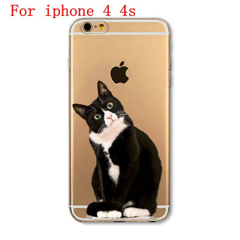 Cute Cat Black Phone Case For Apple iPhone Soft TPU Silicon Transparent Thin Case
