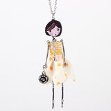 Handmade Cute Statement Doll Necklaces Long Chain Pendants