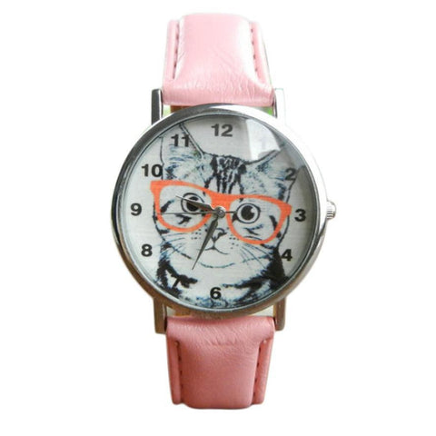 Cute Cat Pattern Women Girl WristWatch Analog Quartz