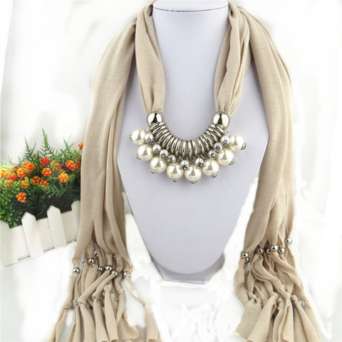 New Double Layer Pearl Pendant Rainbow Color Polyester Scarves for Women