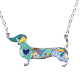 Cute Enamel Dachshund Dogs Pendant Necklace Fashion For Girl Woman Jewelry Accessories For Dog Lovers