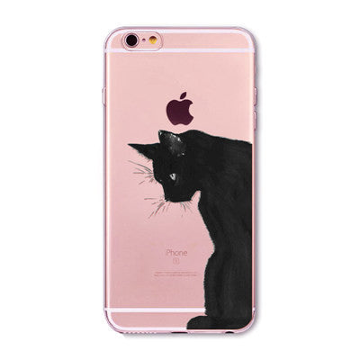 Cute Cat Pattern Case Cover For Apple iPhone Transparent Soft Silicone Cell Phone Cases