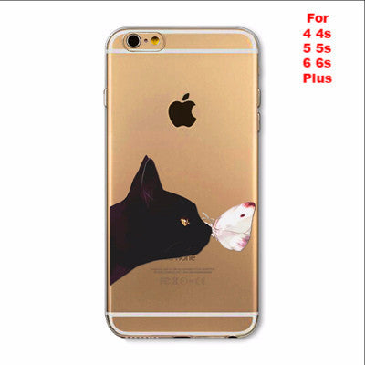 Apple iPhone Soft TPU Black Cat Silicon Transparent Thin Case Cover