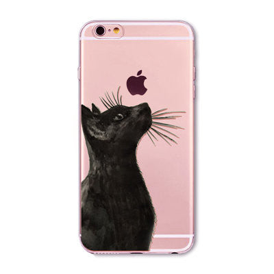 Cute Black Cat Pattern Case Cover For Apple iPhone Transparent Soft Silicone
