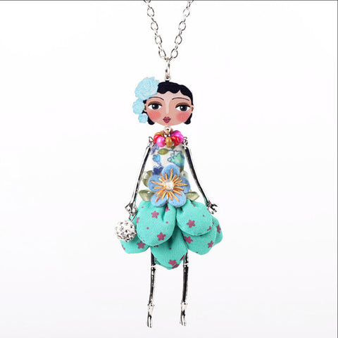 Trendy Cute Girl Doll Pendant Necklace Figure Fashion Jewelry Accessories