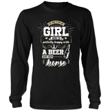 Girl Who Is Happy With A Beer And Her Horse Tshirt