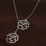 New Fashion Trendy Rose Pair Pendant Necklace