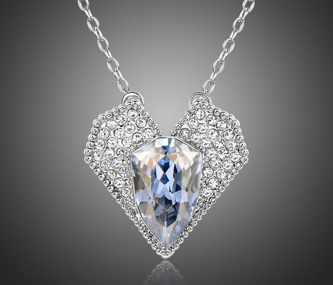 Vintage Style Crystal Heart Pendant Necklace
