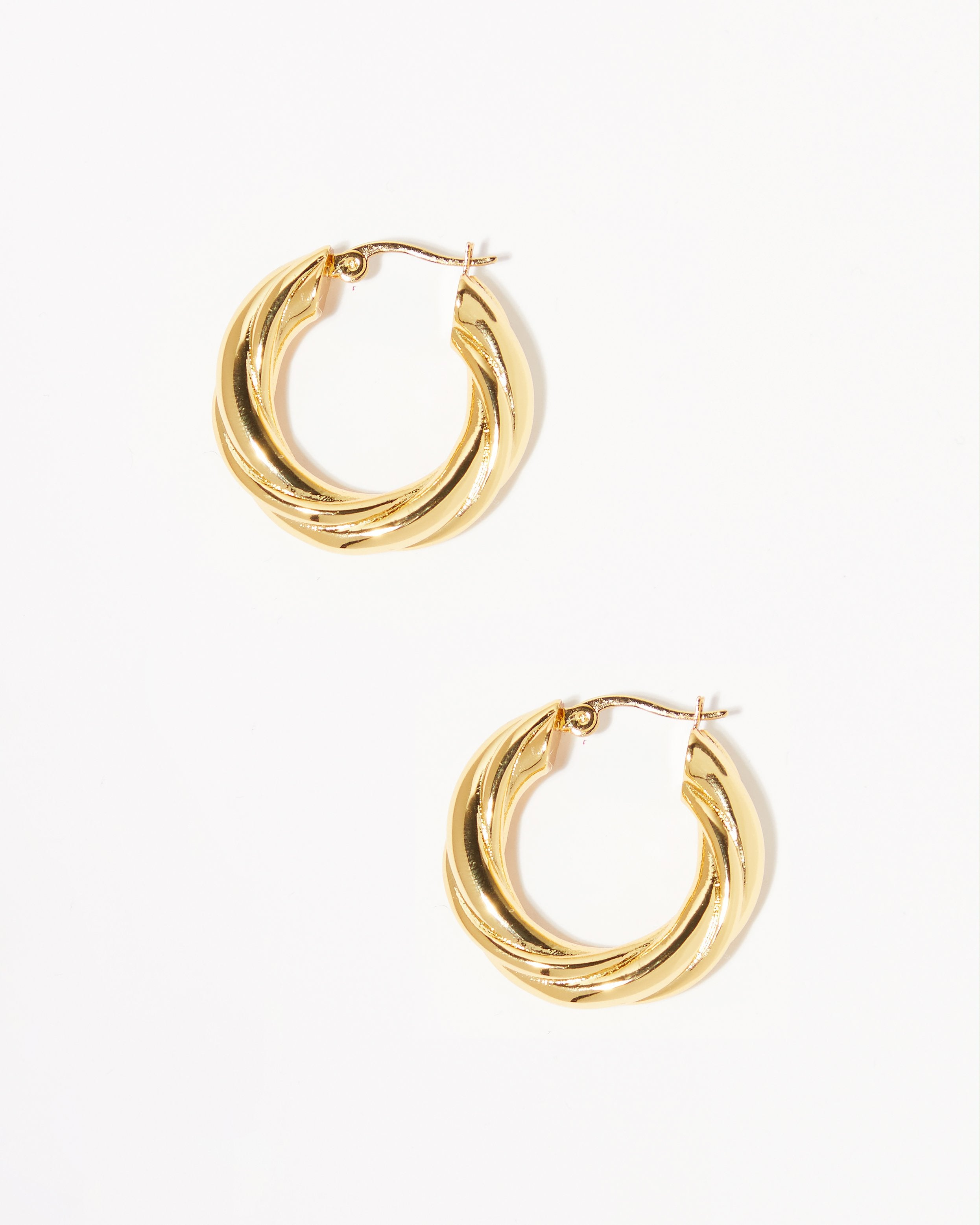 Gold Rope Twist Hoops