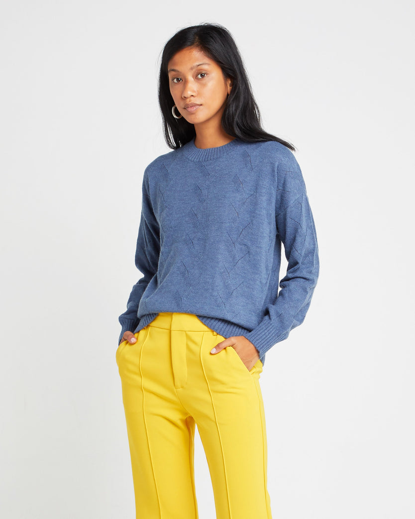 Pointelle Crewneck Cashmere and Wool Blend Sweater
