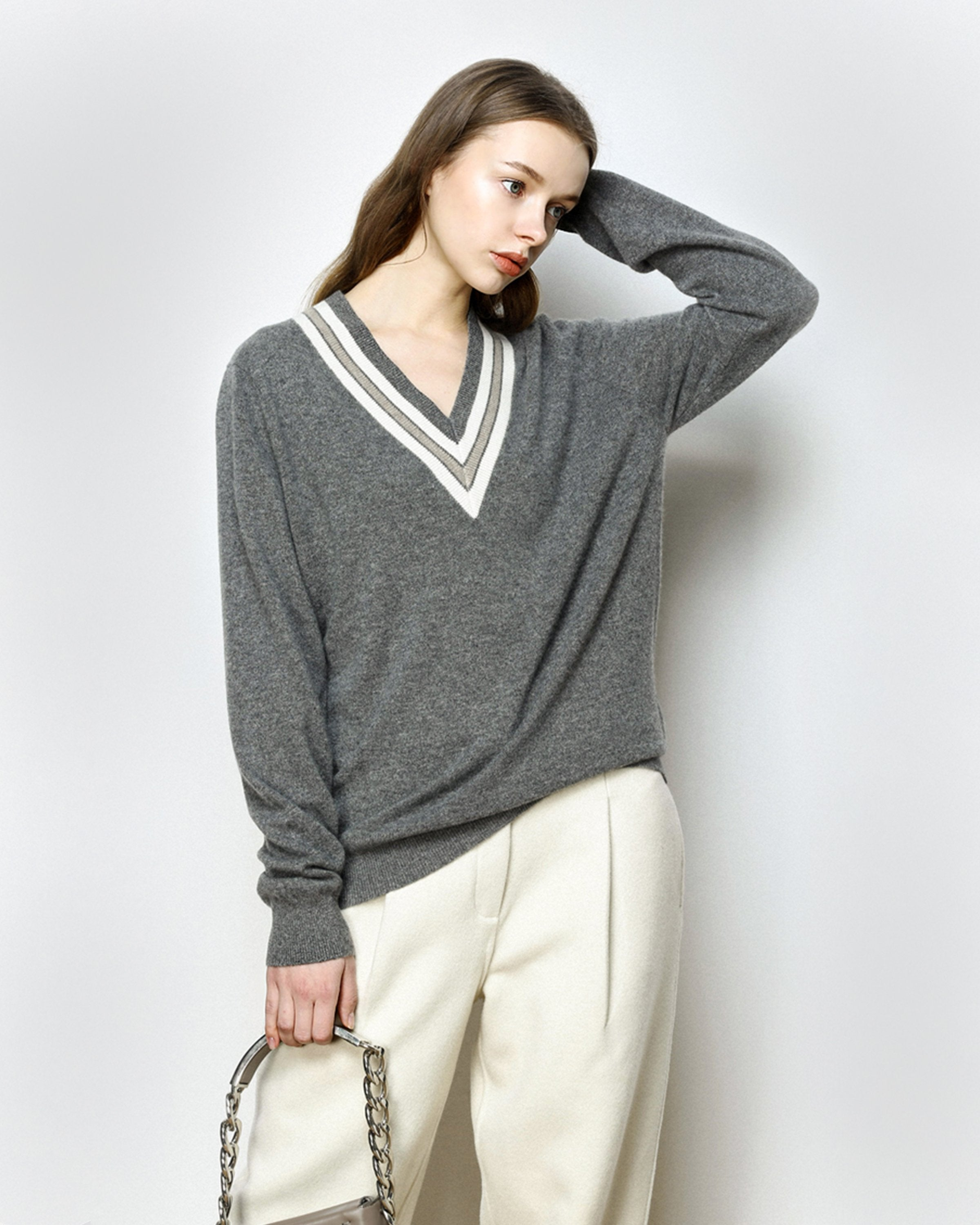 Trenton Grey V-Neck Sweater