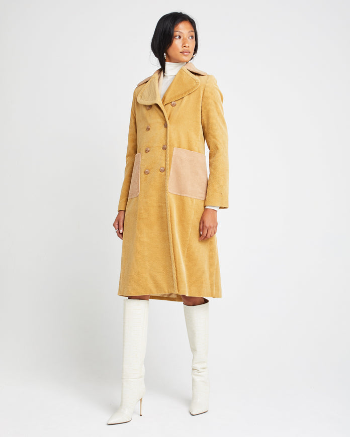 Double Breasted Two-tone Cotton Coat