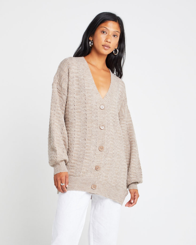 Plunge Front Wool and Mohair Blend Cardigan