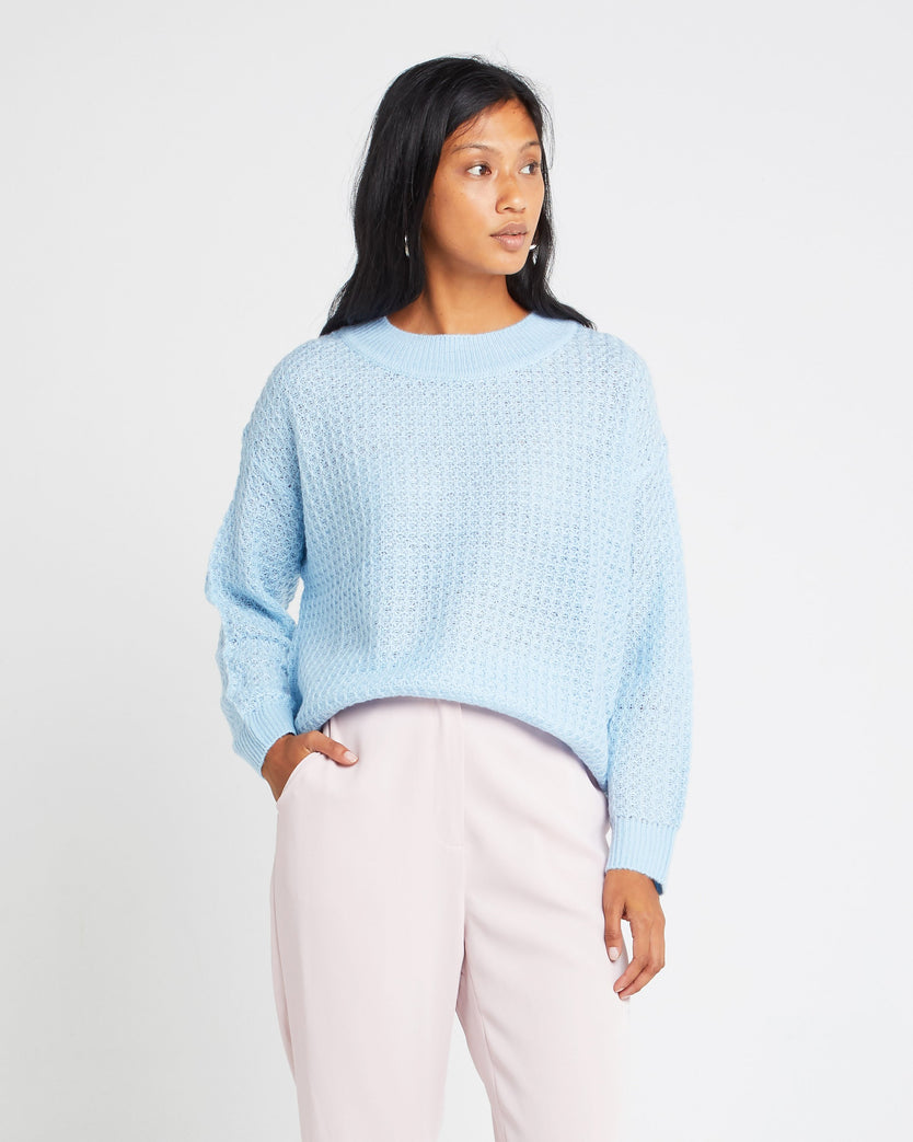 Crewneck Wool and Mohair Blend Sweater