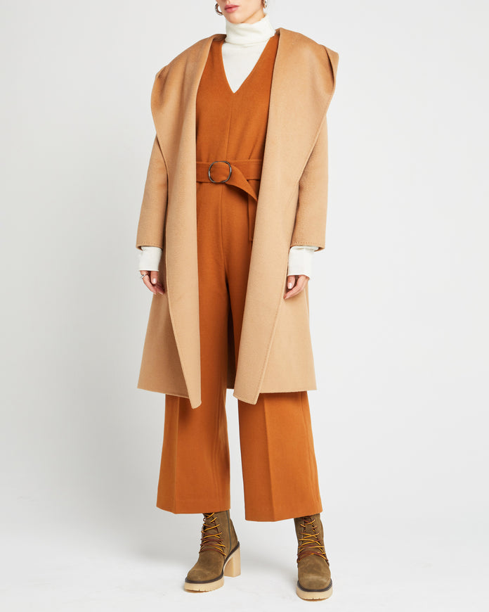 Relaxed Wool Coat With Hood
