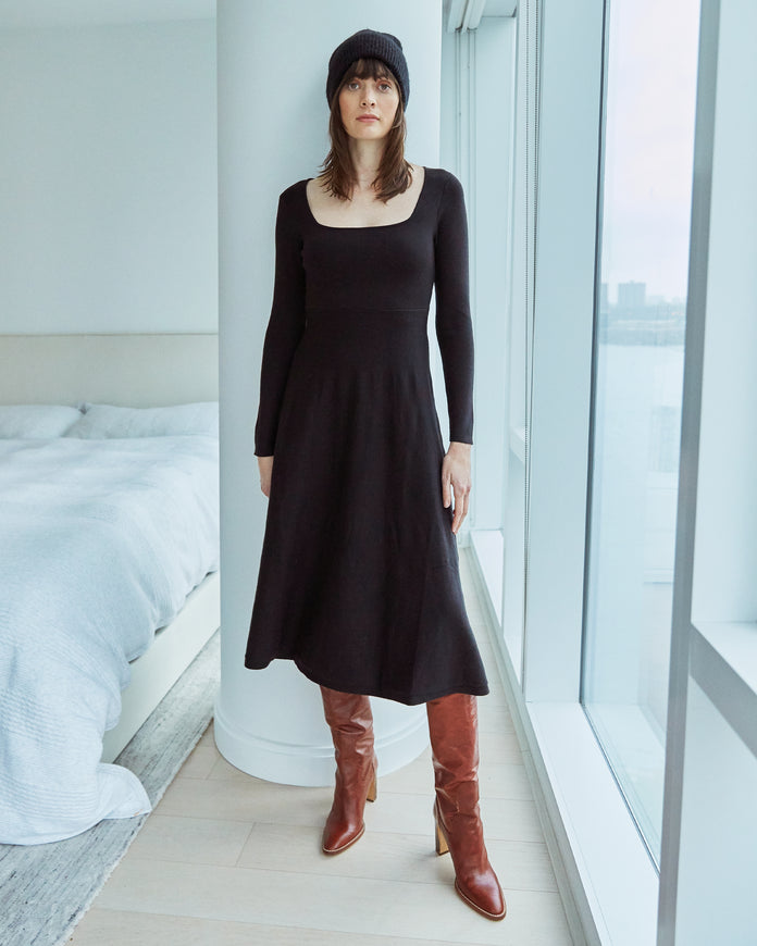Square Neck Knit Dress