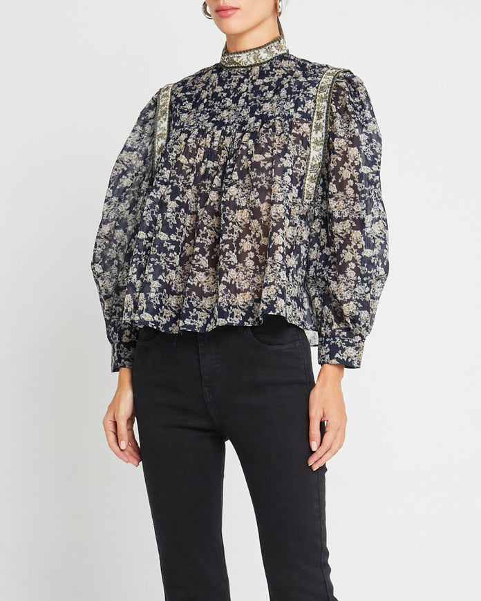 Black Floral Printed Blouse