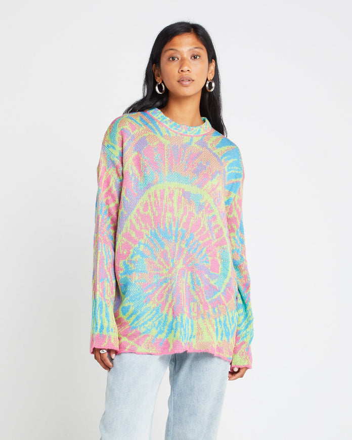 Wool and Mohair Blend Tie Dye Sweater