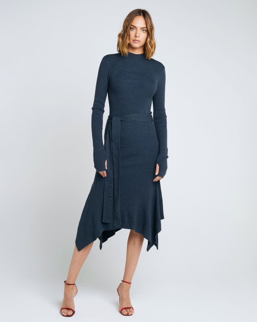 High Neck Asymmetric Knit Dress