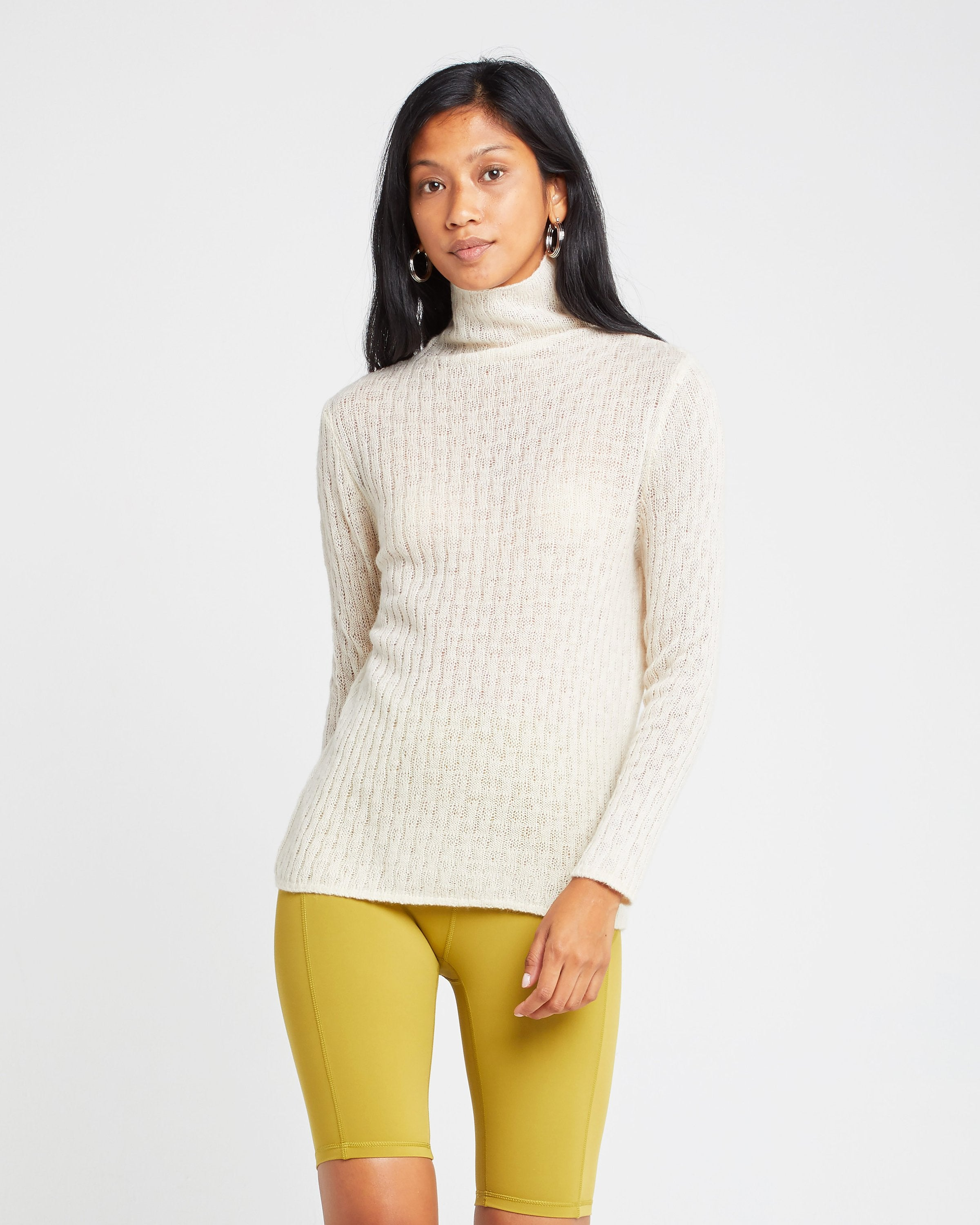 Ribbed Mock Neck Yak Wool Blend Sweater