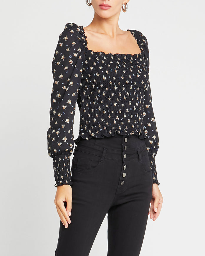 Floral Square Neck Top