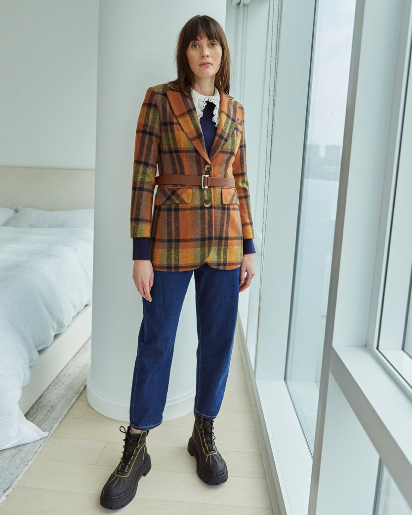 Wool and Cotton Blend Plaid Blazer