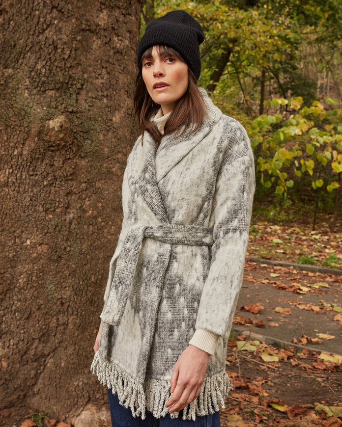 Alpaca and Wool Blend Printed Coat