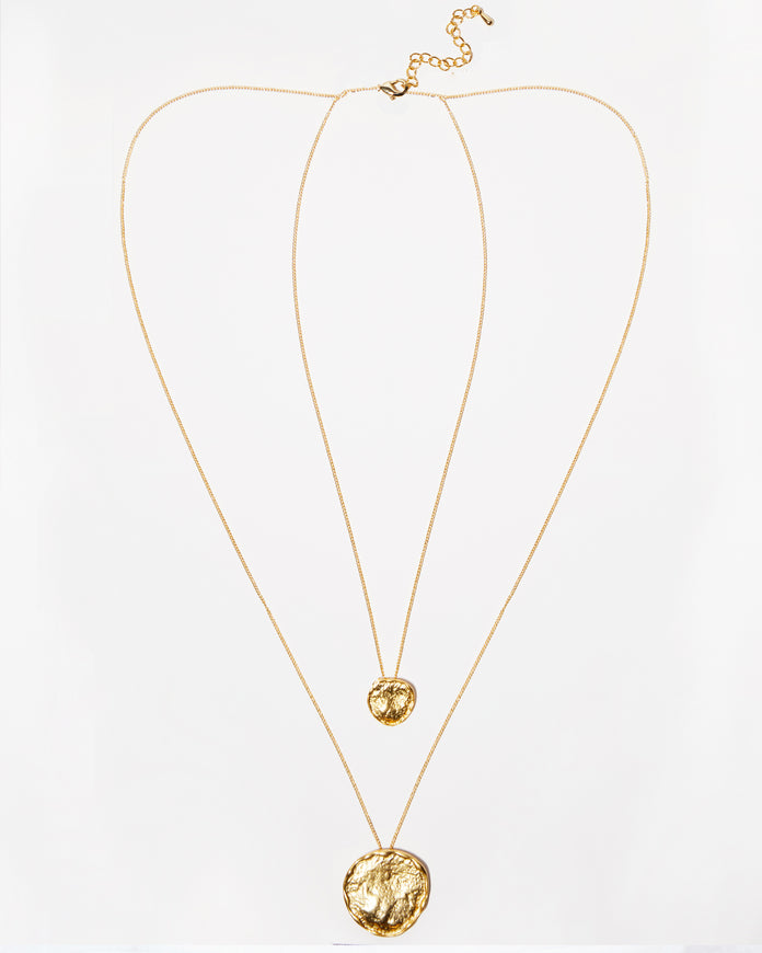 Layered Double Gold Pendant Necklace