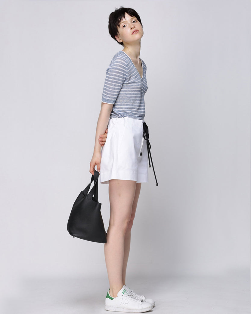 Short Sleeves Stripe Knit Top