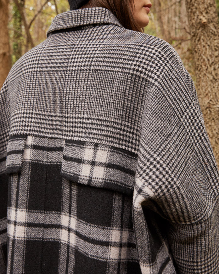 Double Face Plaid Wool Coat