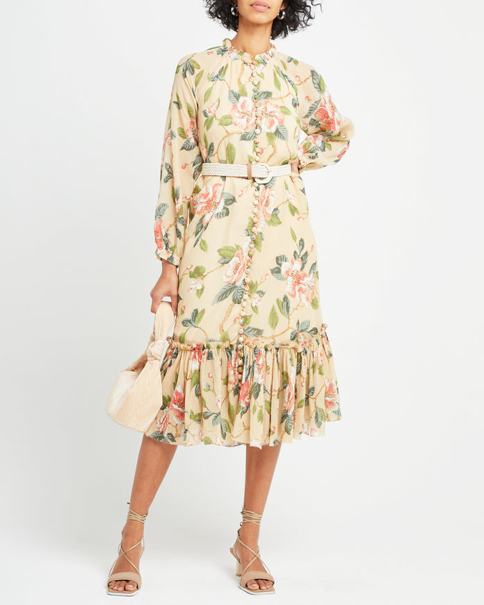 Floral Silk Tea Dress