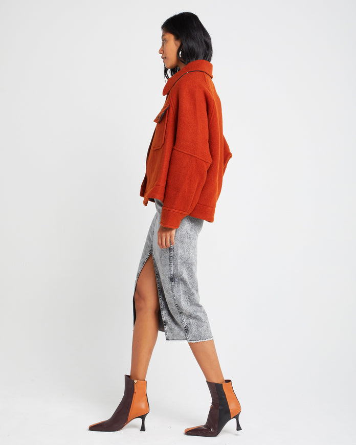 Oversized Cropped Wool and Mohair Blend Jacket
