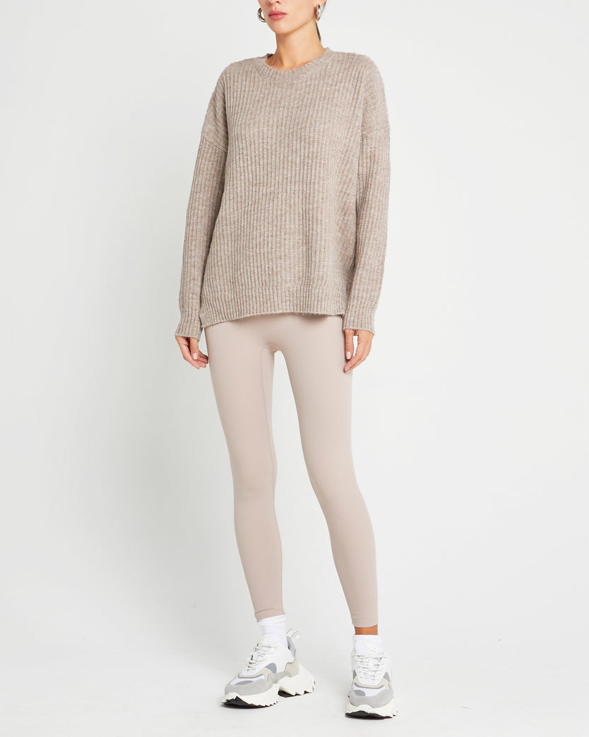 Wool and Mohair Blend Crew Neck Sweater