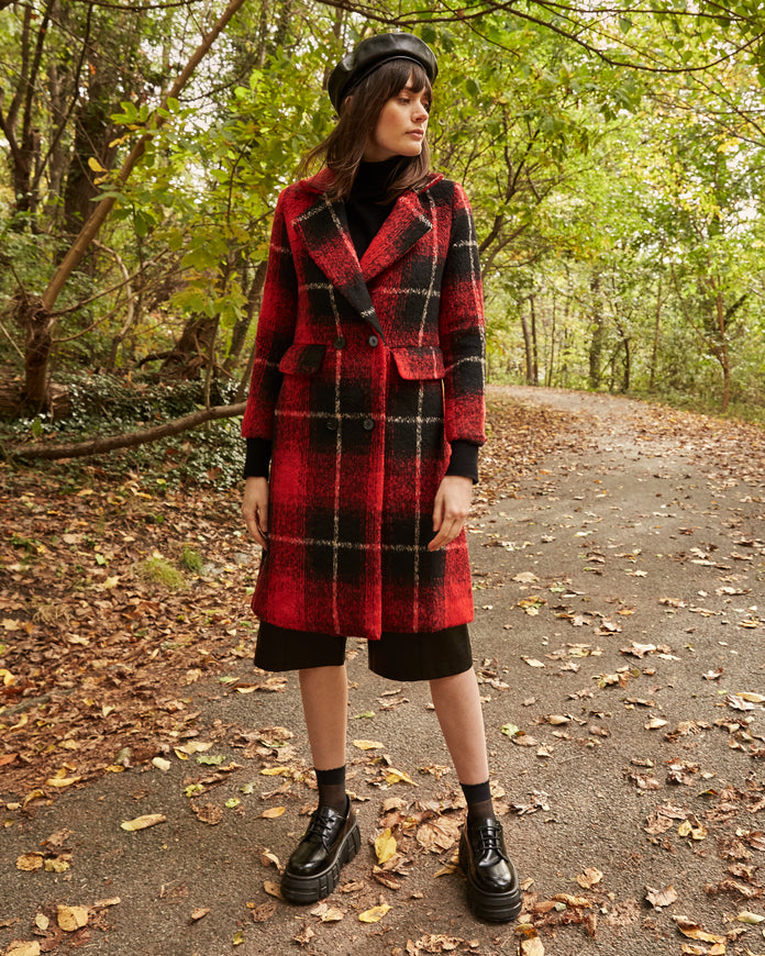 Plaid Wool Blend Trench