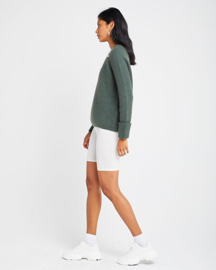 Pearl Crew Neck Wool and Mohair Blend Sweater