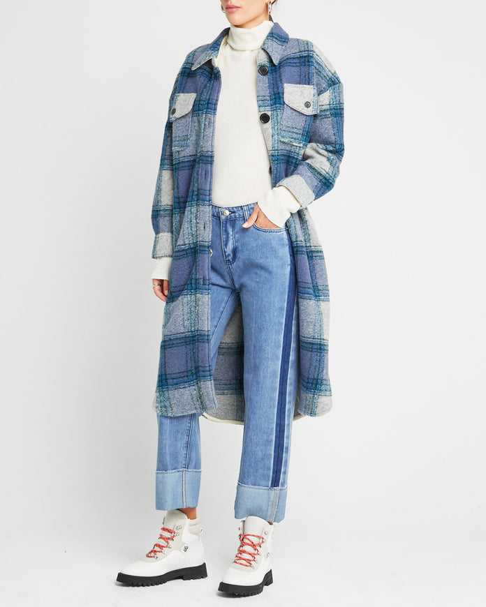 Flannel Wool Blend Coat