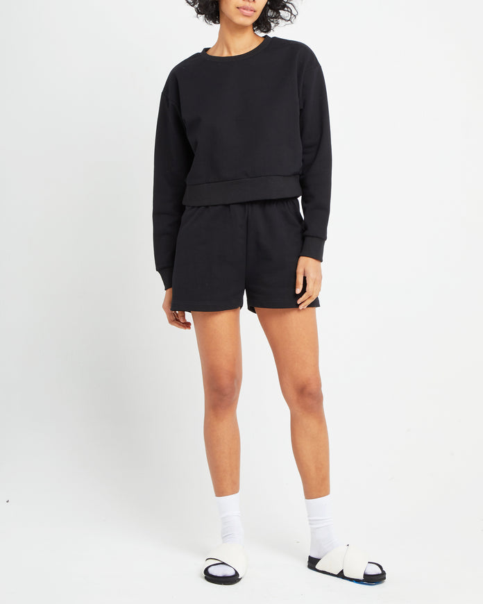 Light Cropped Cotton Crewneck