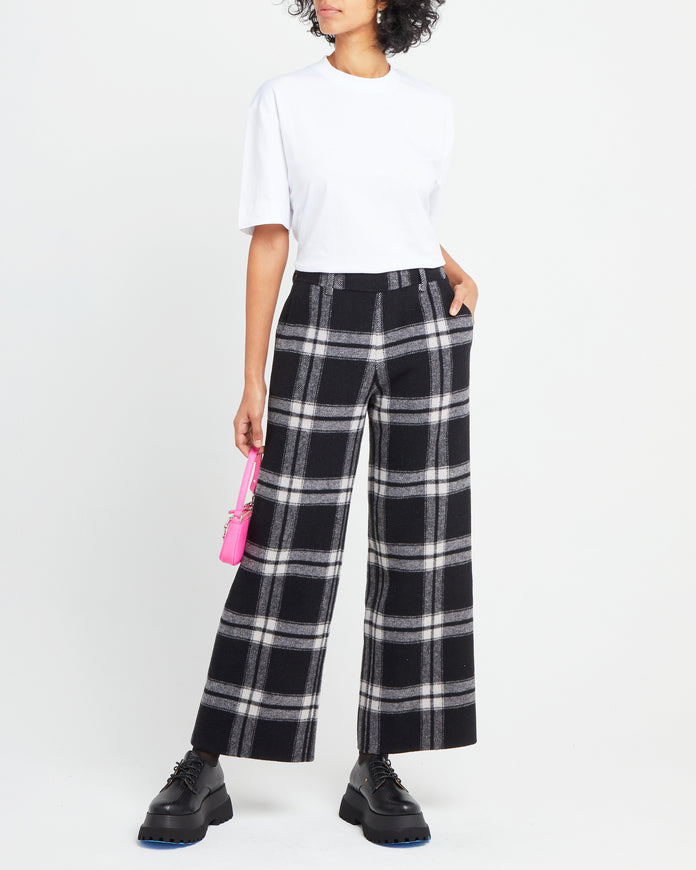Wool Blend Plaid Flare Pant