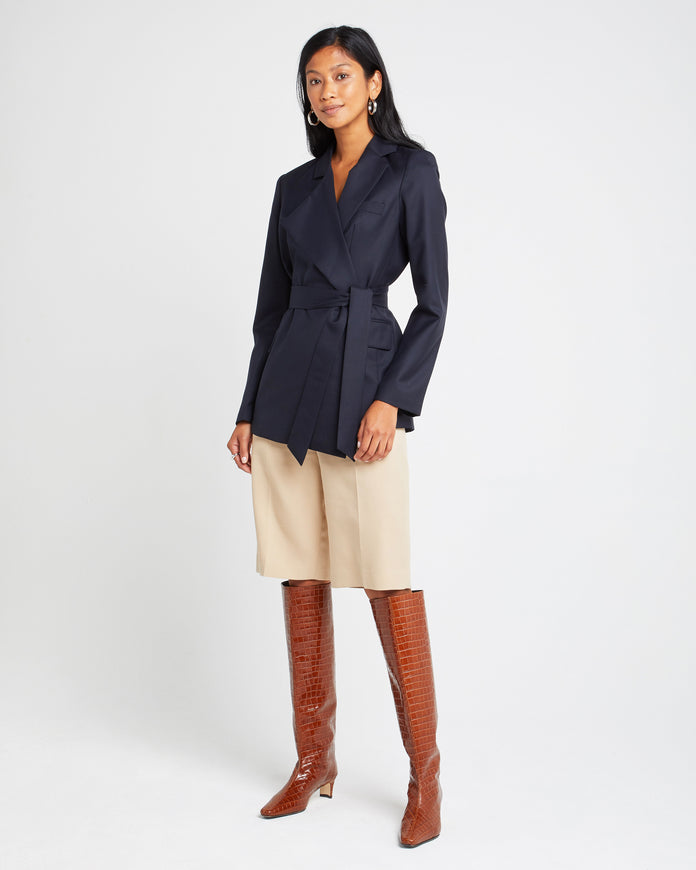 Asymmetrical Belted Wool Blazer