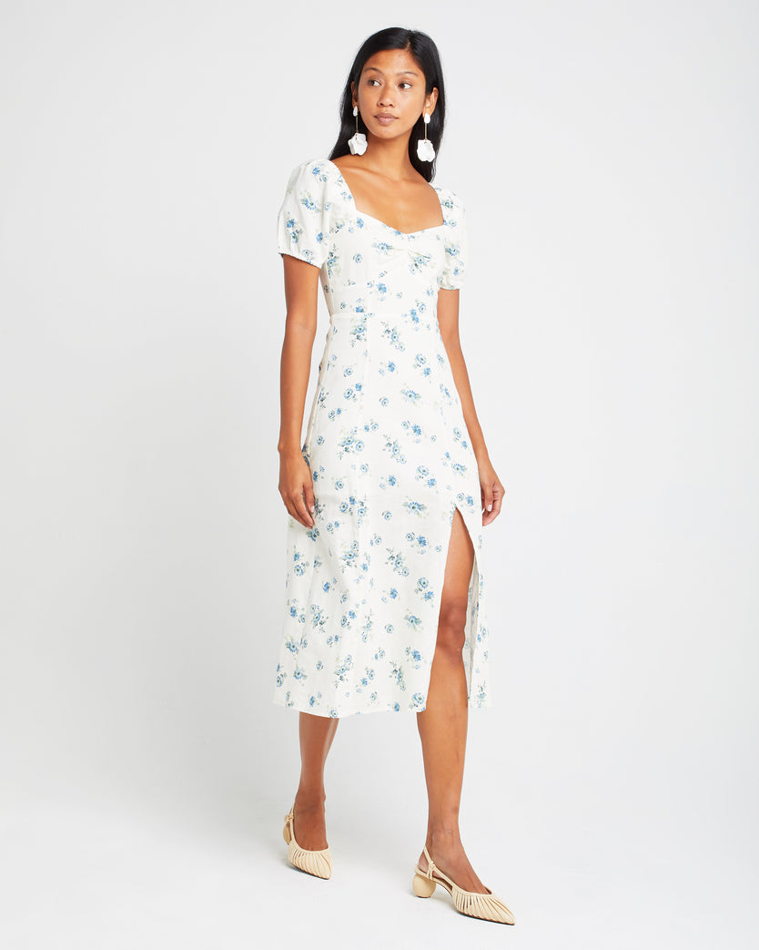 Linen Floral Ruched Maxi Dress
