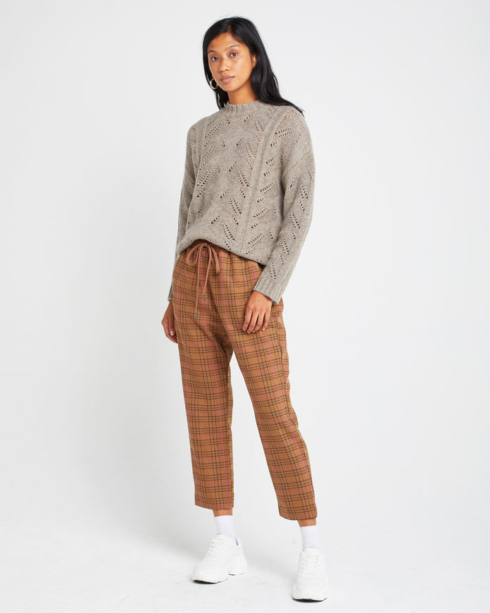 Pointelle Crew Neck Yak Wool Blend Sweater